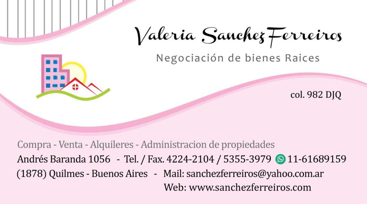 Valeria Sanchez Ferreiros. Negociación de bienes raíces